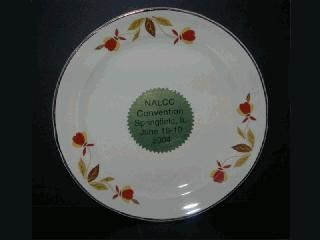 "NALCC. The 6"" Hall China plate with commemorative sticker was the 2004 Annual Convention gift in Springfield, IL hosted by Pat & Paul S. 2004."