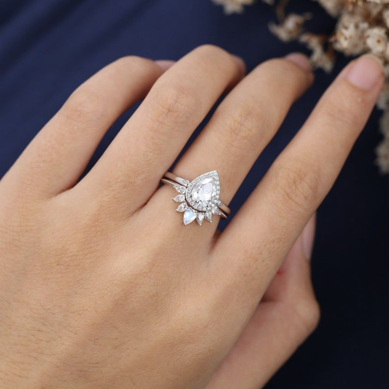 Pear shaped Moissanite engagement ring set vintage