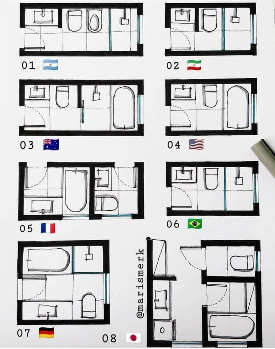 Pin By It S Mi On Salle De Bain In 2020 Bathroom Layout Plans Bathroom Design Layout Small Bathroom Plans