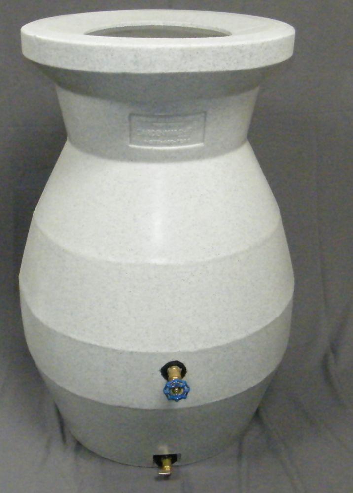 66 Gal Rain Barrel In White Stone Rain Barrel System Rain Barrel Barrel