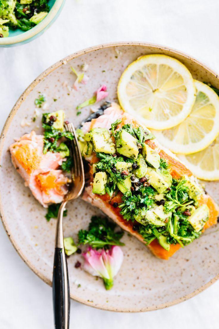 10-Minute Pan Seared Salmon with Avocado Gremolata -