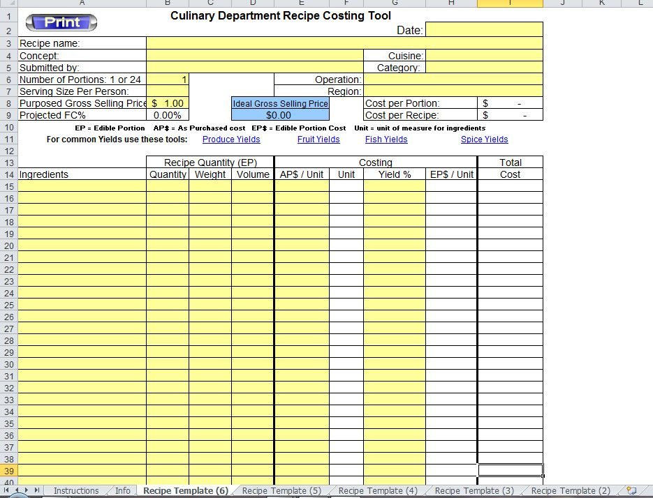 excel recipe template for chefs