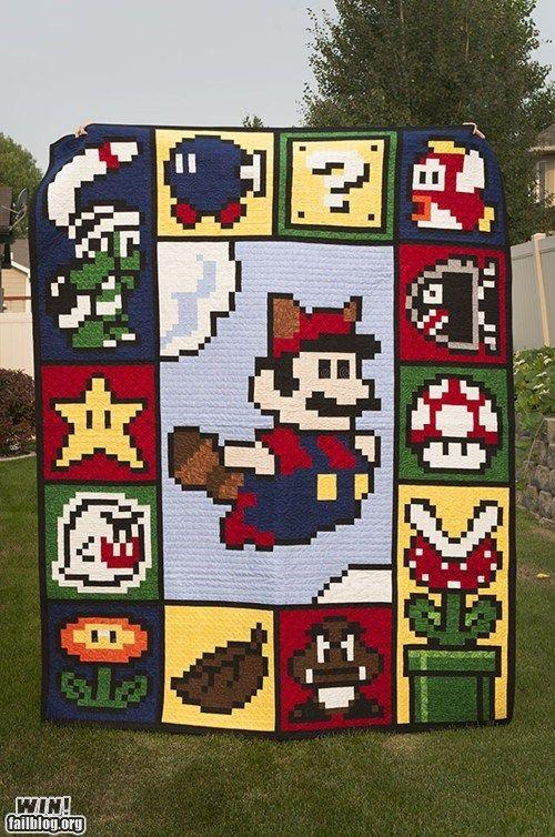 Mario Quilt Win Mario Quilt Pixel Quilting Quilts