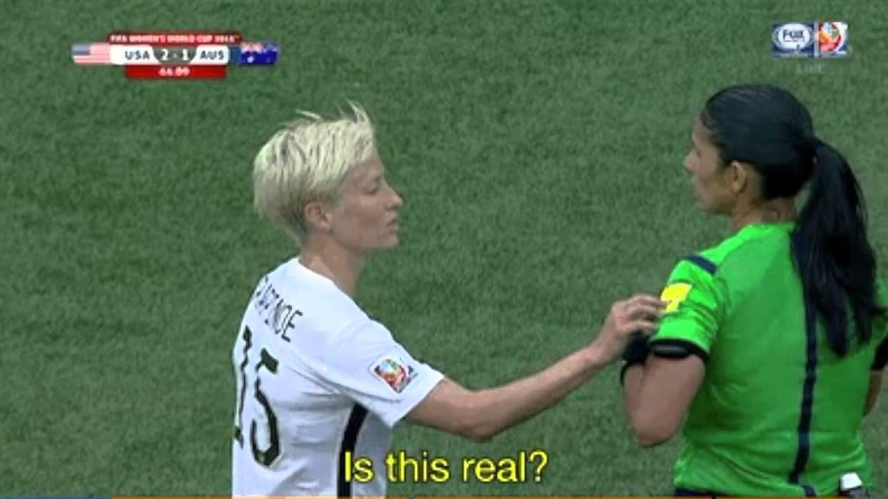 Megan Rapinoe S Funny Reaction To A Yellow Card Usa Soccer Women Women S Soccer Team Soccer Memes