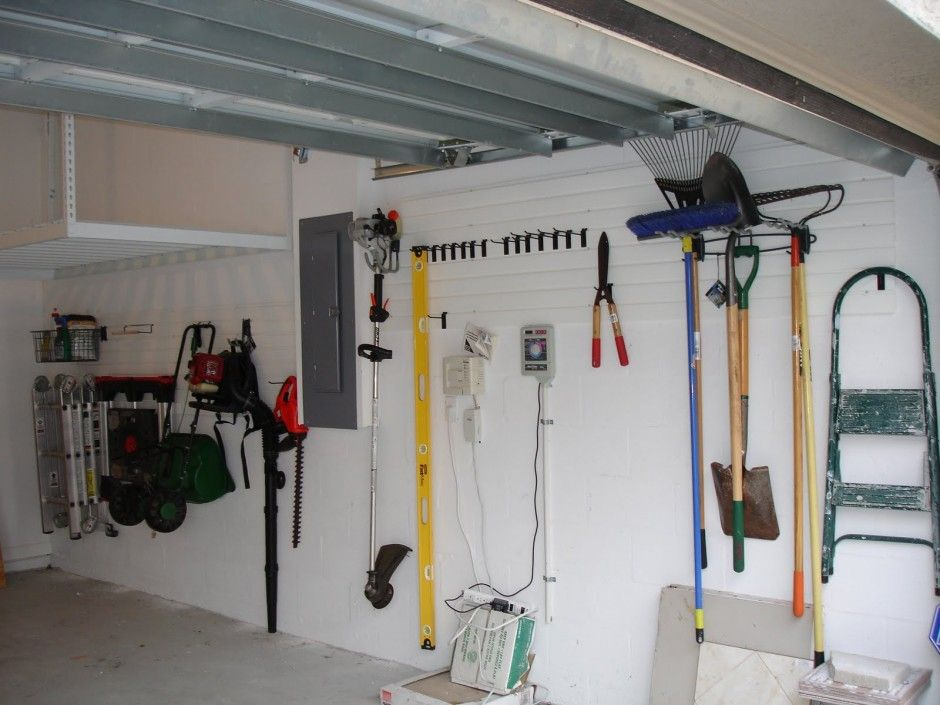 Affordable Simple Design Of The Garage Storage Interior That Has White Concrete Wall Can Add The Garage Wall Organizer Garage Wall Shelving Garage Wall Storage