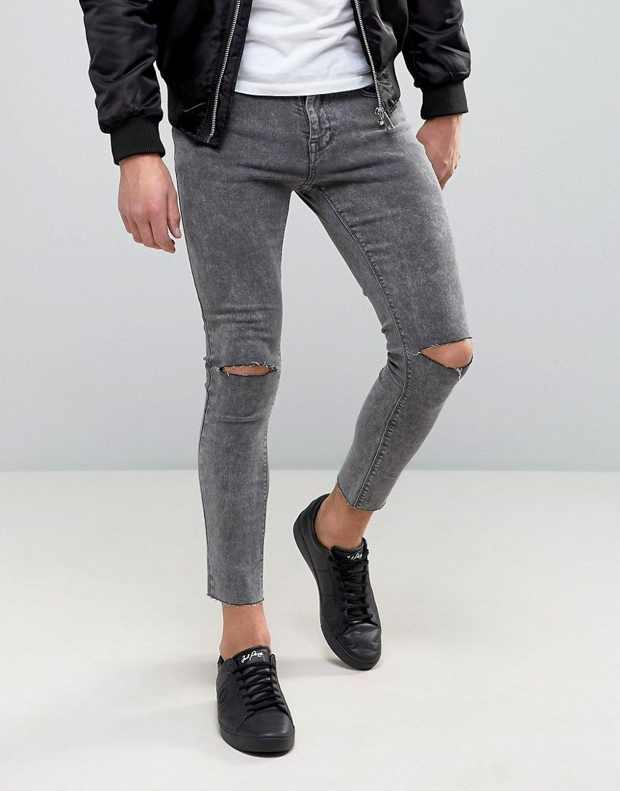 Pull Bear Super Skinny Cropped Jeans With Rips In Gray Black