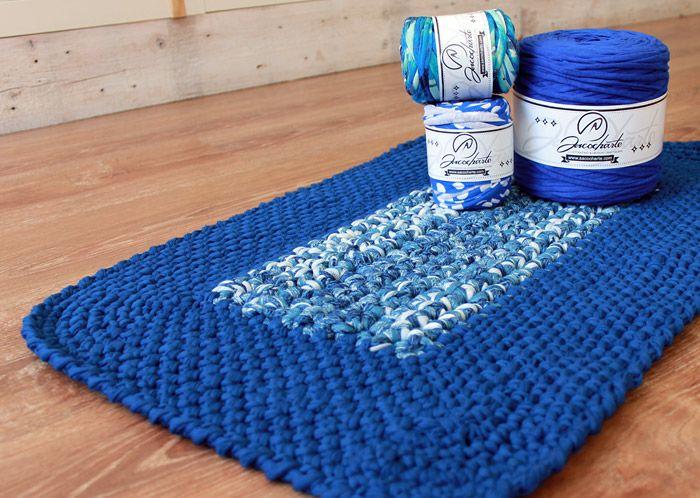 Alfombra rectangular bordes redondos diy inspiration pinterest trapillo ganchillo y - Tutorial alfombra trapillo ...