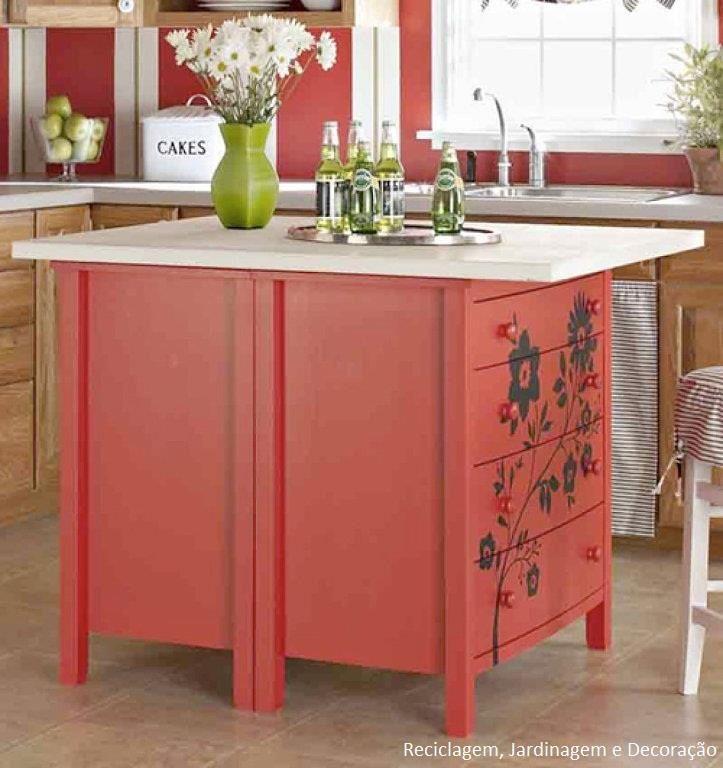 S o duas c modas pintadas de vermelho enfeitadas com adesivo e um tampo de pedra por cima - Comodas pintadas ...
