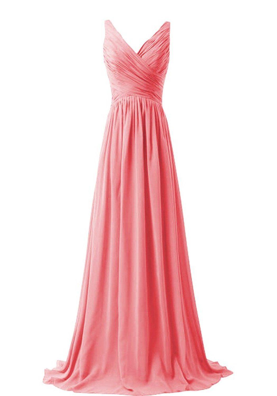 Women\'s Chiffon V-neck Sleeveless Bridemaid Dresses on Luulla ...