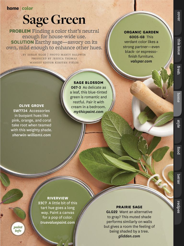 Bhg oct 2013 paint colors and color schemes pinterest - What colors go with olive green walls ...