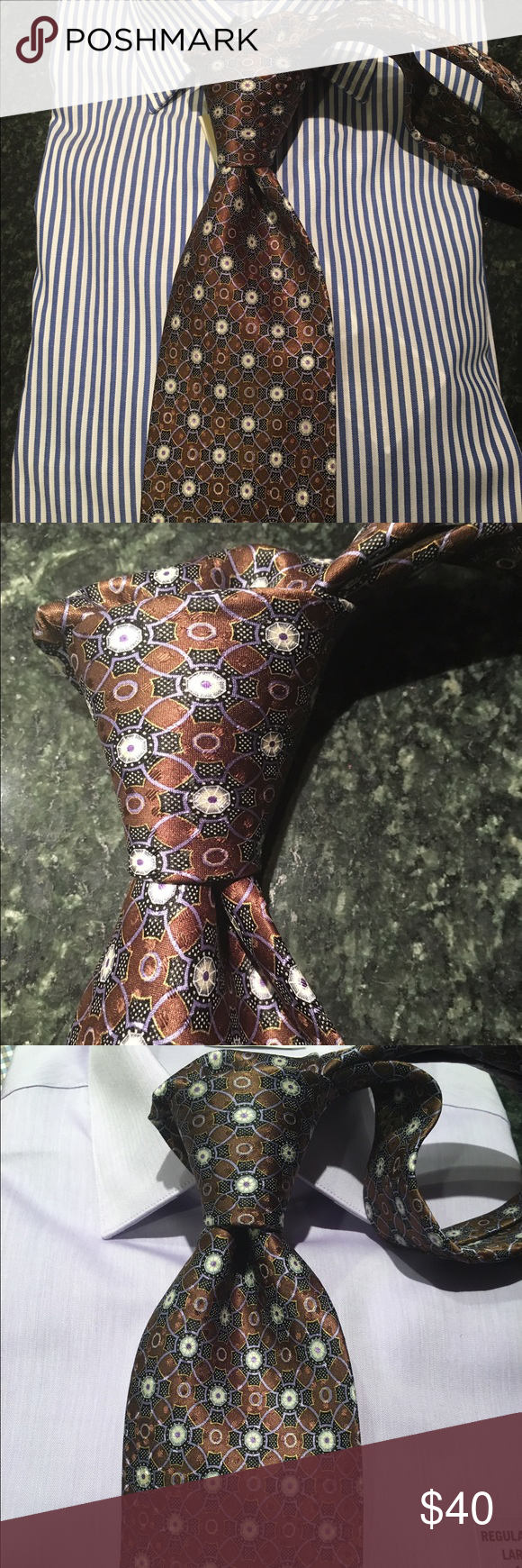 Robert Talbott tie High end Robert Talbott tie - brown background with blue and white accent colors.  Goes great with all colors and patterned shirts! Robert Talbott Accessories Ties