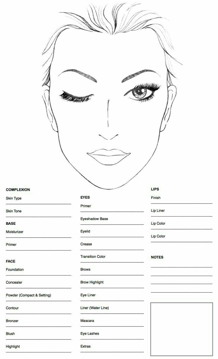 Makeup face charts by stephaney on new Mobicel 2019