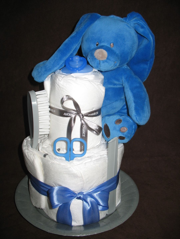 Gâteau de couches Lapin bleu et gris : Peluches par saperlietpopette