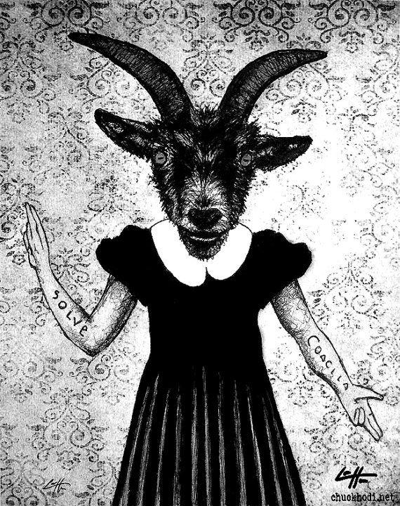 Baphomet Cartoon vinyl decal sticker stanic satan weird goth punk