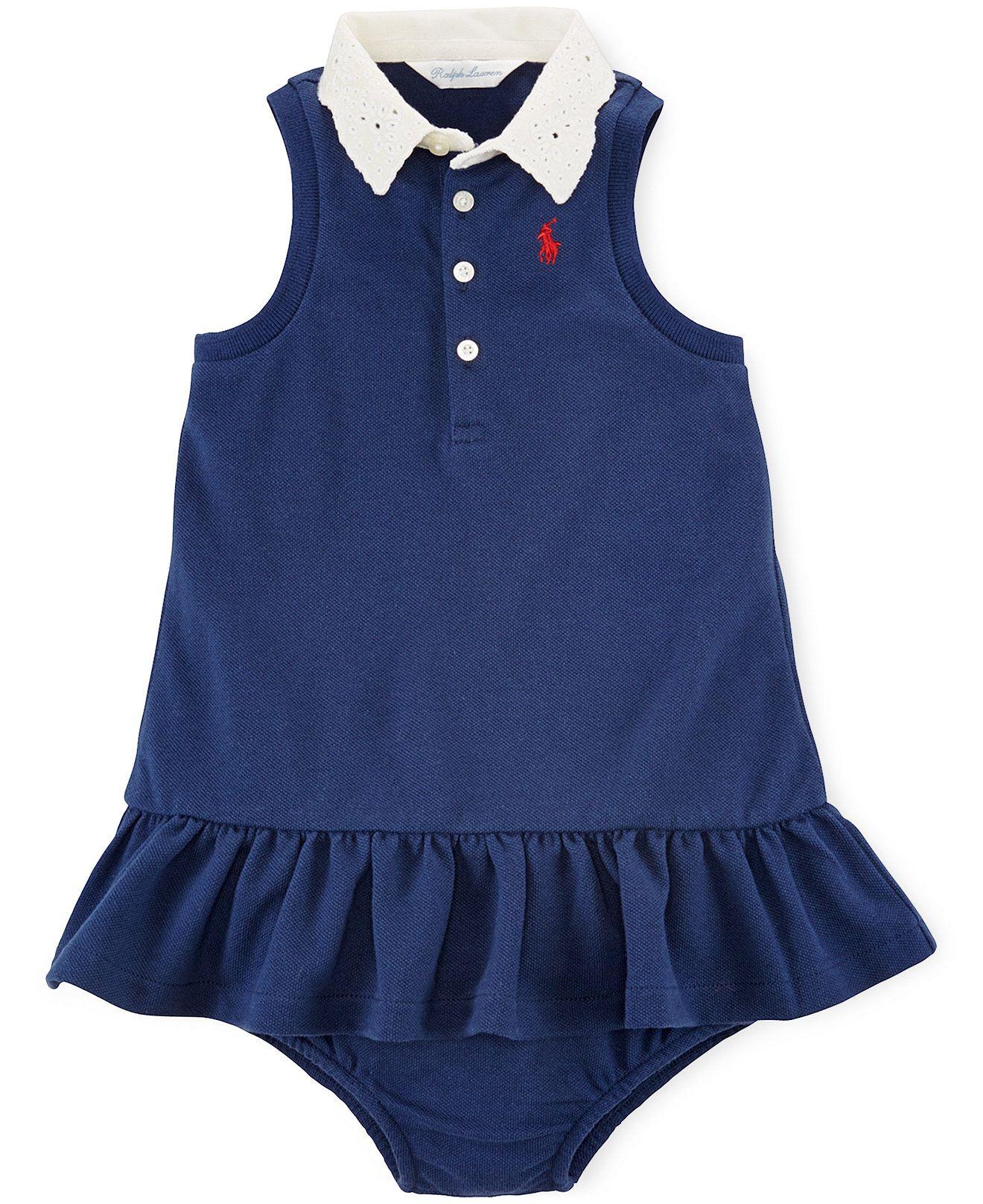 Ralph Lauren Baby Girls Mesh Polo Dress Kids Baby Girl 0 24
