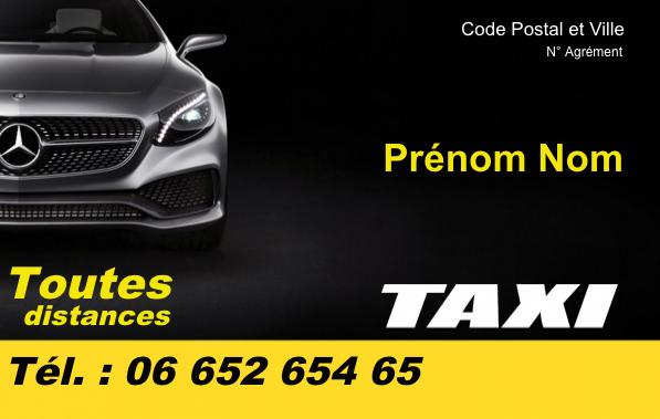 carte de visite taxi Carte de visite Taxi | Modèle Gratuit à Imprimer | Noir Bandeau