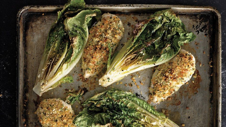 Not only is this entire Parmesan chicken recipe in one pan—it comes with a built-in side dish of roasted romaine. Meet your new favorite weeknight dinner.