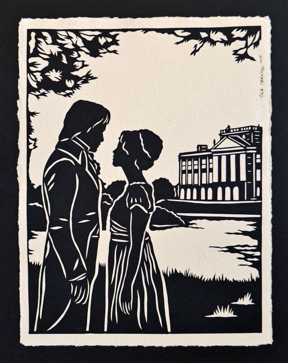 PRIDE AND PREJUDICE Papercut - Elizabeth and Darcy at Pemberley - Hand-Cut Silhouette #prideandprejudice