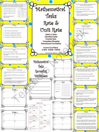 Rate and Unit Rate: Mathematical Tasks Constant Speed, Comparison ...