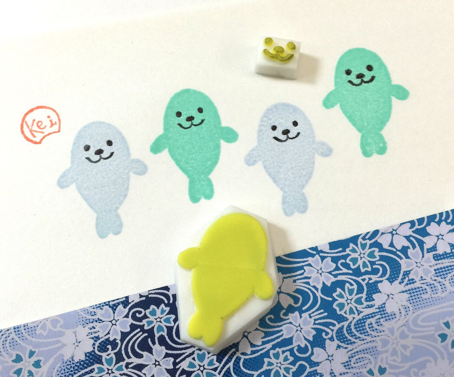 HAPPY SEA SEAL - Hand Carved Rubber Stamps/Zoo/Animals/Funny by KeiWorkshop on Etsy https://www.etsy.com/hk-en/listing/289433905/happy-sea-seal-hand-carved-rubber