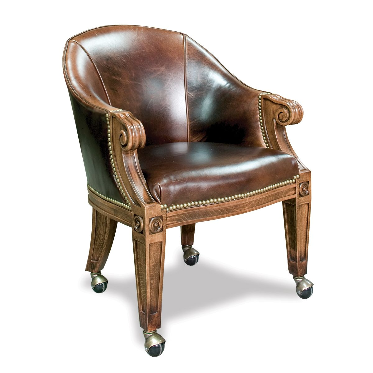 Quality Poker Chairs With Casters Custom Leather Ivey