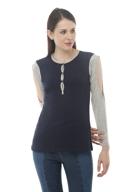 10e7756f01a8ce Kamal kakdi Dark Blue Grey full Sleeve 100% Cotton Henley Neck Cold Shoulder  Top For