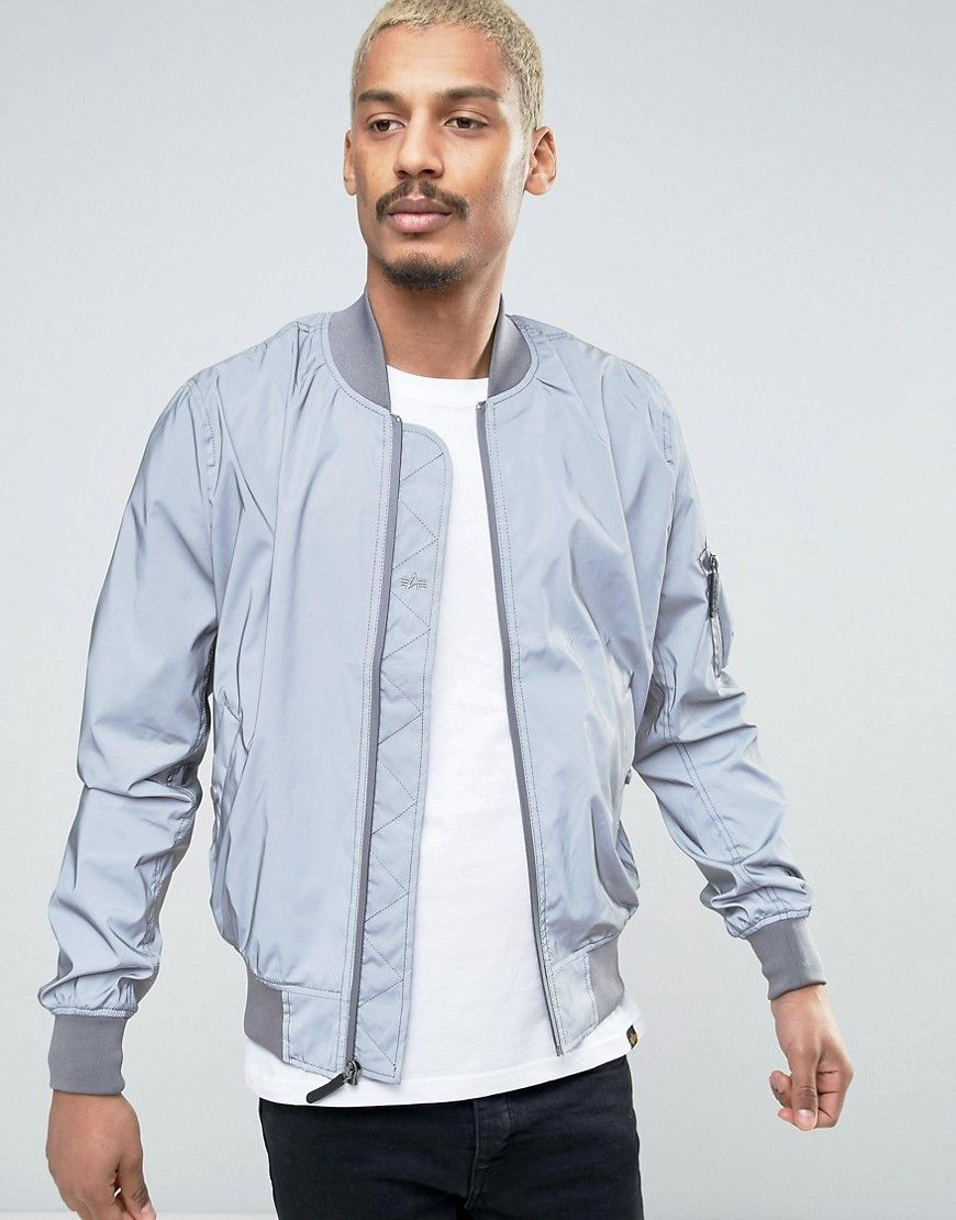 b131d216e Alpha Industries MA1 Reflective Bomber Jacket in Silver | Products ...