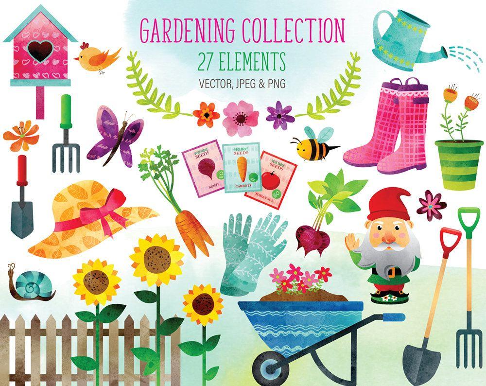 Watercolor Gardening Clipart Watercolor Spring Clipart Garden