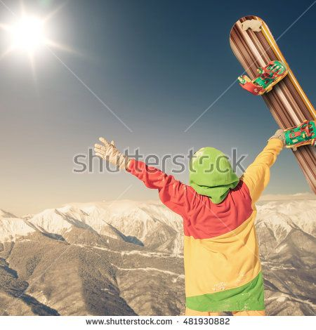 An snowbrd image with a portrait of a female snowboarder on the background of…