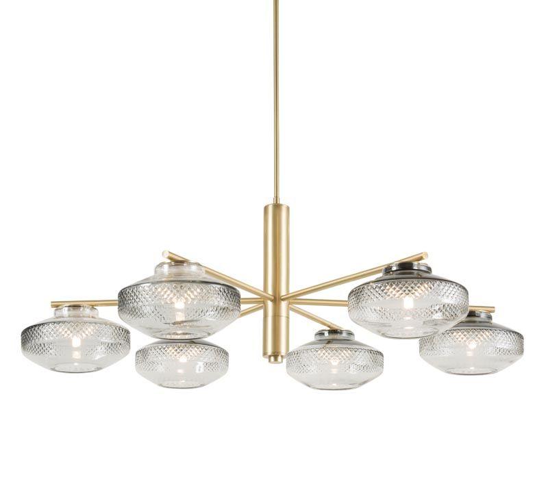 Lighting room BOLT 6 light brass chandelier in nickel with black shades
