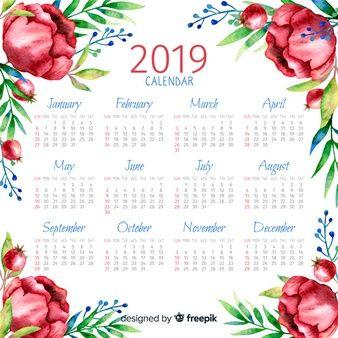 Calendario 2019 English.Calendario Acuarela 2019 Imprimibles Calendar 2019