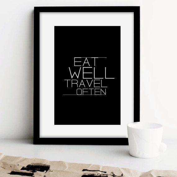 """Motivational Poster Typografie Print """"Essen gut Reisen oft"""". Schwarz & weiß zu drucken. Einfach. Minimalist. Wohnkultur. Geschenkidee. 8.5 """"Drucken."""