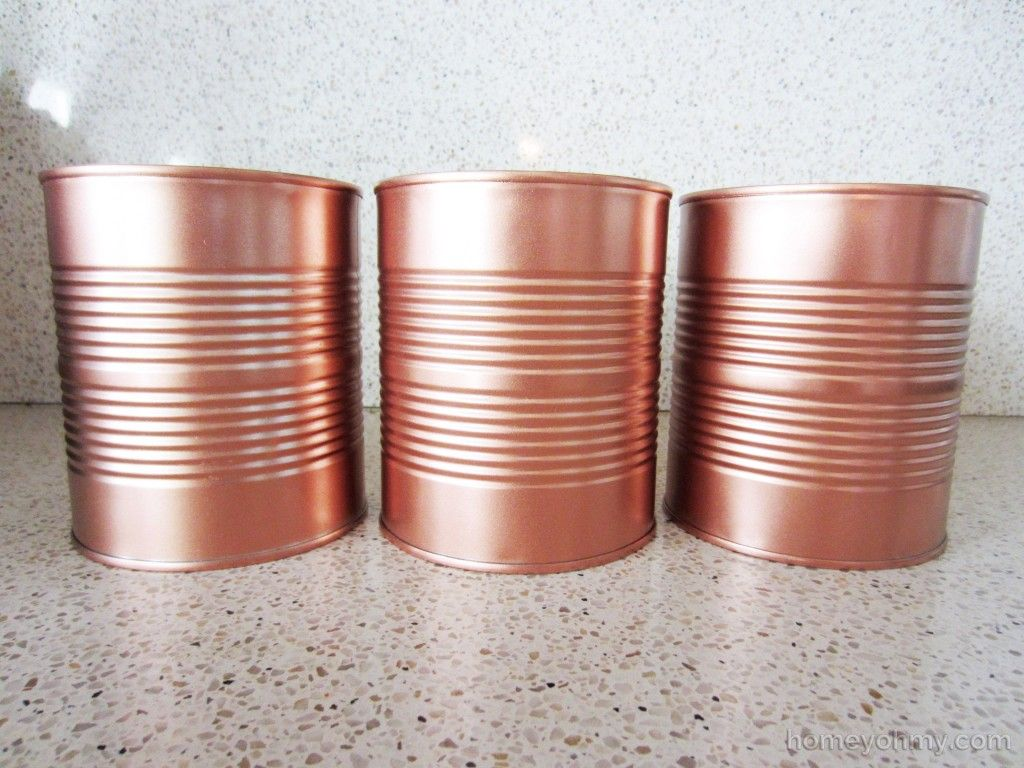 diy copper tin can planters and chalkboard tags gold spray paint