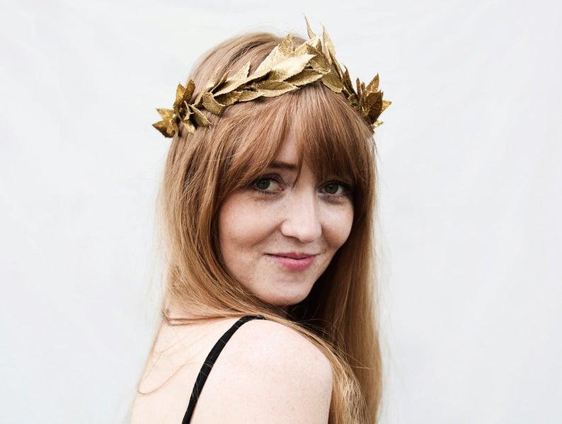 Gold Leaf Crown, Tiara, Bridal Headpiece, Gold Leaf Headband, Beltane, Greek Goddess, Gold Hair Laurel, Toga Costume, Renaissance Garland
