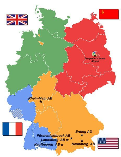 Map Of Germany Us Air Force Bases.United States Air Force In Germany Infopics Divided Germany