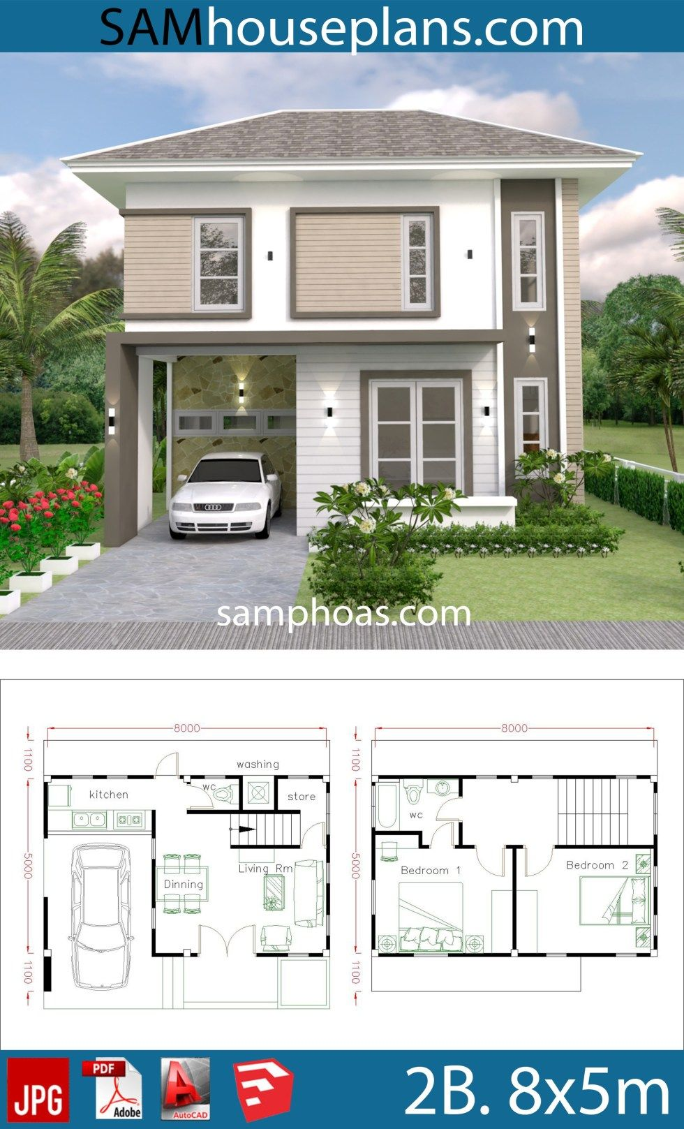 Small Home Design Plan 8x5m With 2 Bedrooms In 2020 Small House Design Bungalow House Design House Plans