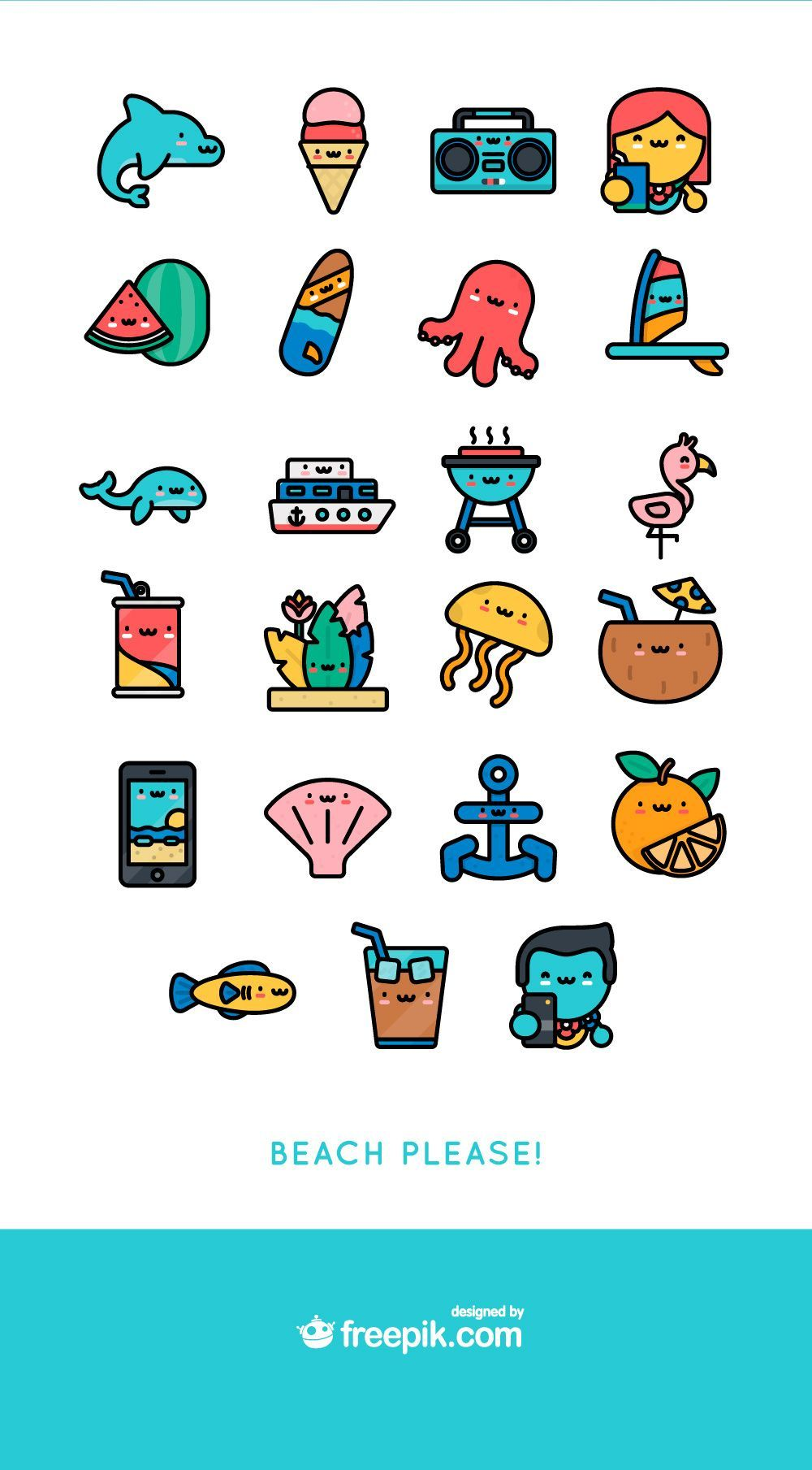 download kawaii summer free icon packFree Download