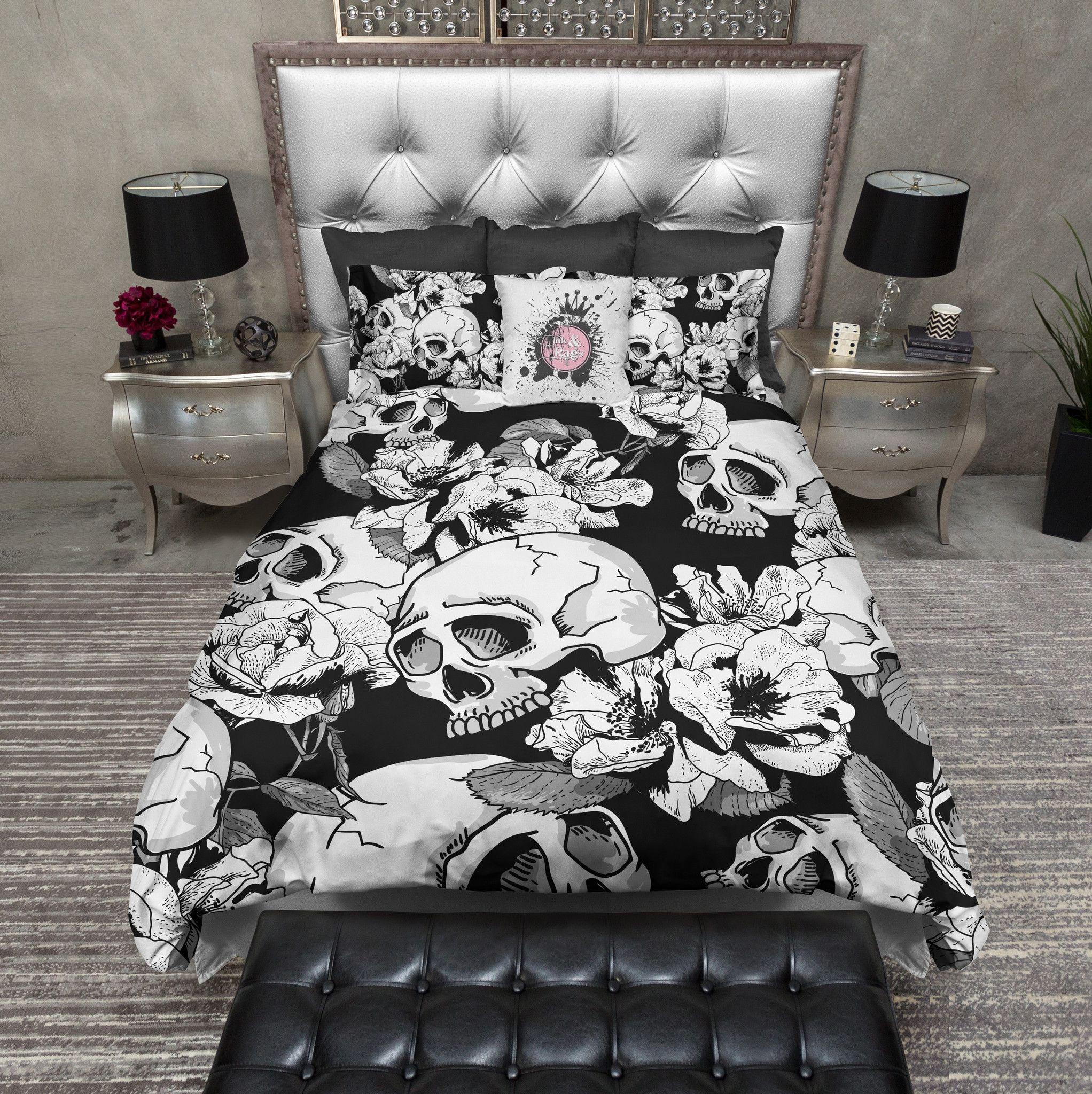Black and White Flower Skull Bedding Duvet bedding sets