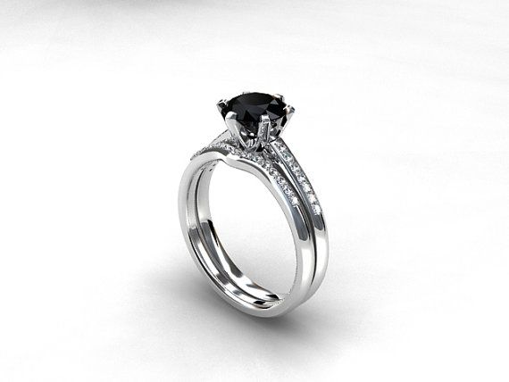 engagement ring set black diamond engagement Diamond band wedding