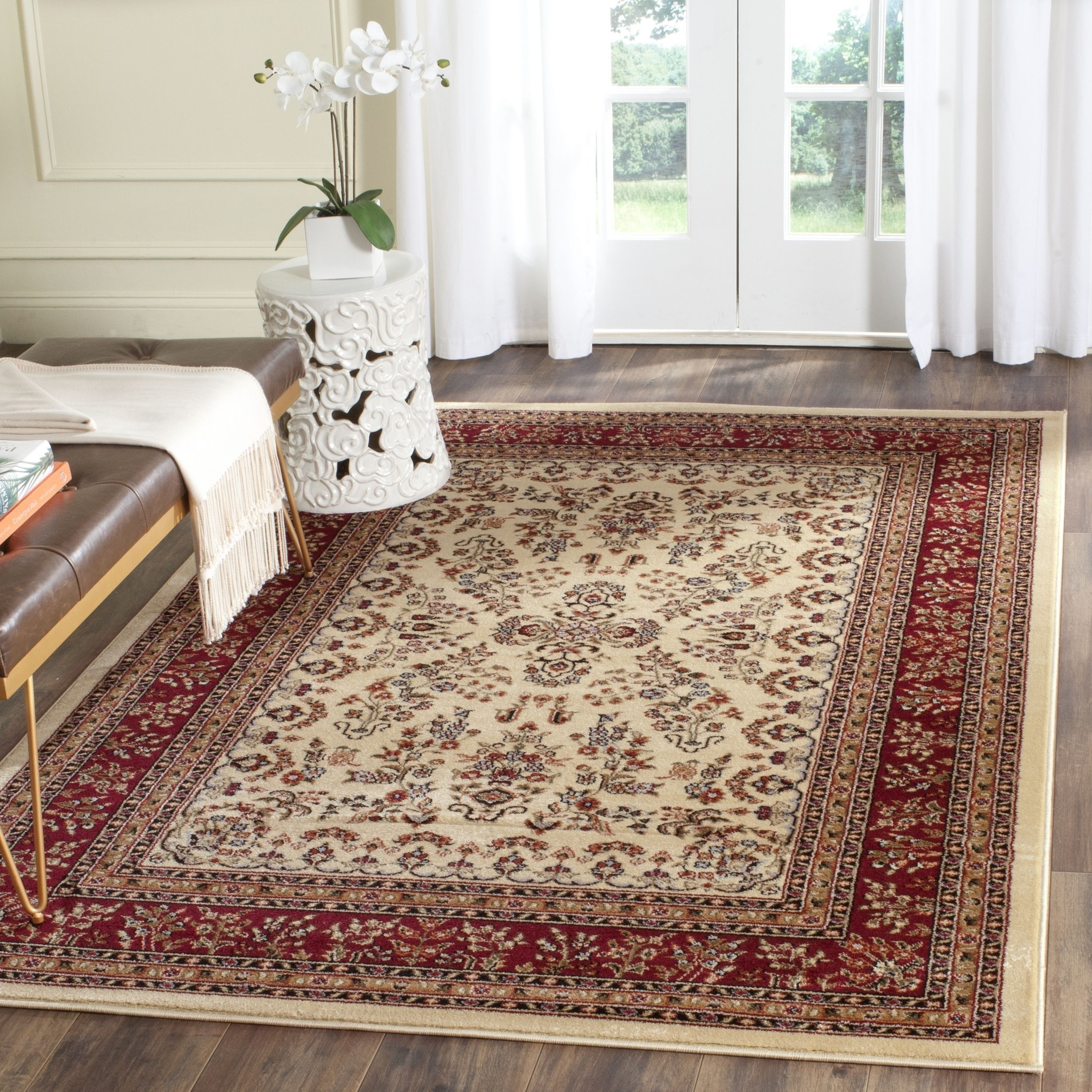 Safavieh Lyndhurst Traditional Oriental Ivory Red Rug (6 Square), Beige