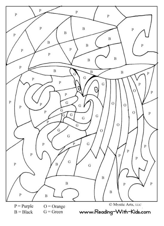 Coloring Halloween Page Color By Numbers Letters