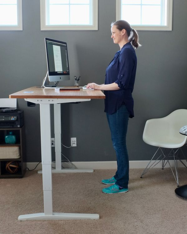 I Love My New Standing Desk This One Adjusts From 24 5 To 50 5 Which Is Perfect For A Tall Girl Like Me Bonus Standing Desk Adjustable Standing Desk Desk