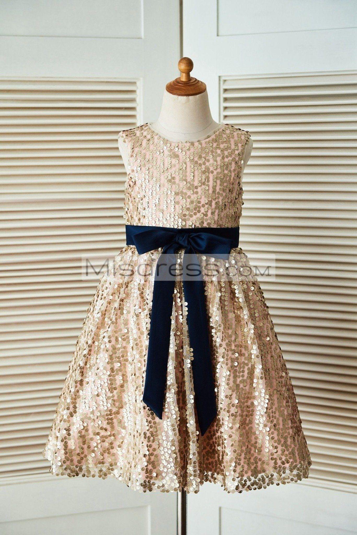 85626defc Champagne Gold Sequin Wedding Flower Girl Dress with Navy Blue Belt SKU:  K1003304 Buy Now: #flowergirldress #wedding #littlegirldress  #champagnedress # ...