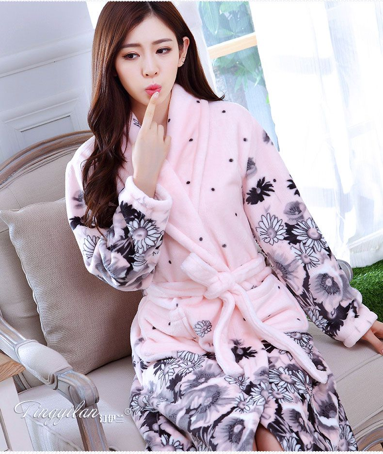 2017 Winter Women s Bathrobes Cotton Flannel Bath Robe Female Sleep Lounge  Night Gown Dressing Gowns For Women Kimono Nightdress-in Robes from Women s  ... 5f3c0e67b