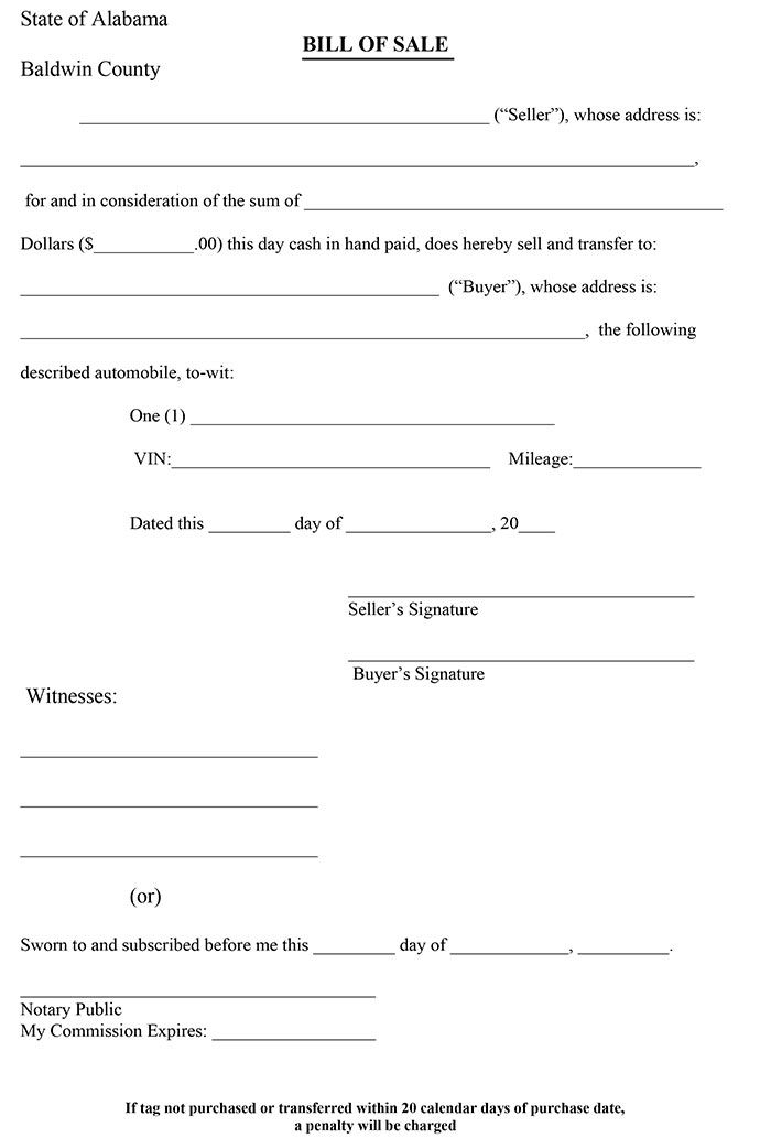 Printable Sample Bill Of Sale Alabama Form | Real Estate ...