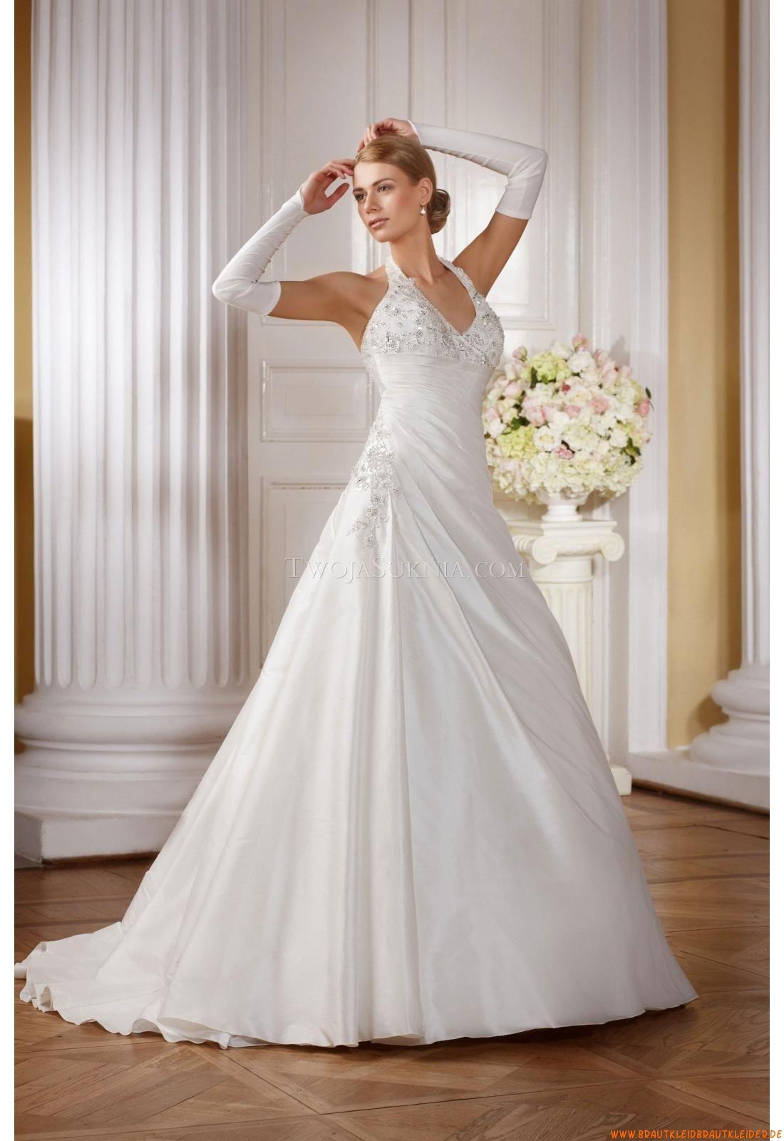 Günstige Elegante Brautkleider aus Satin mit Applikation ...