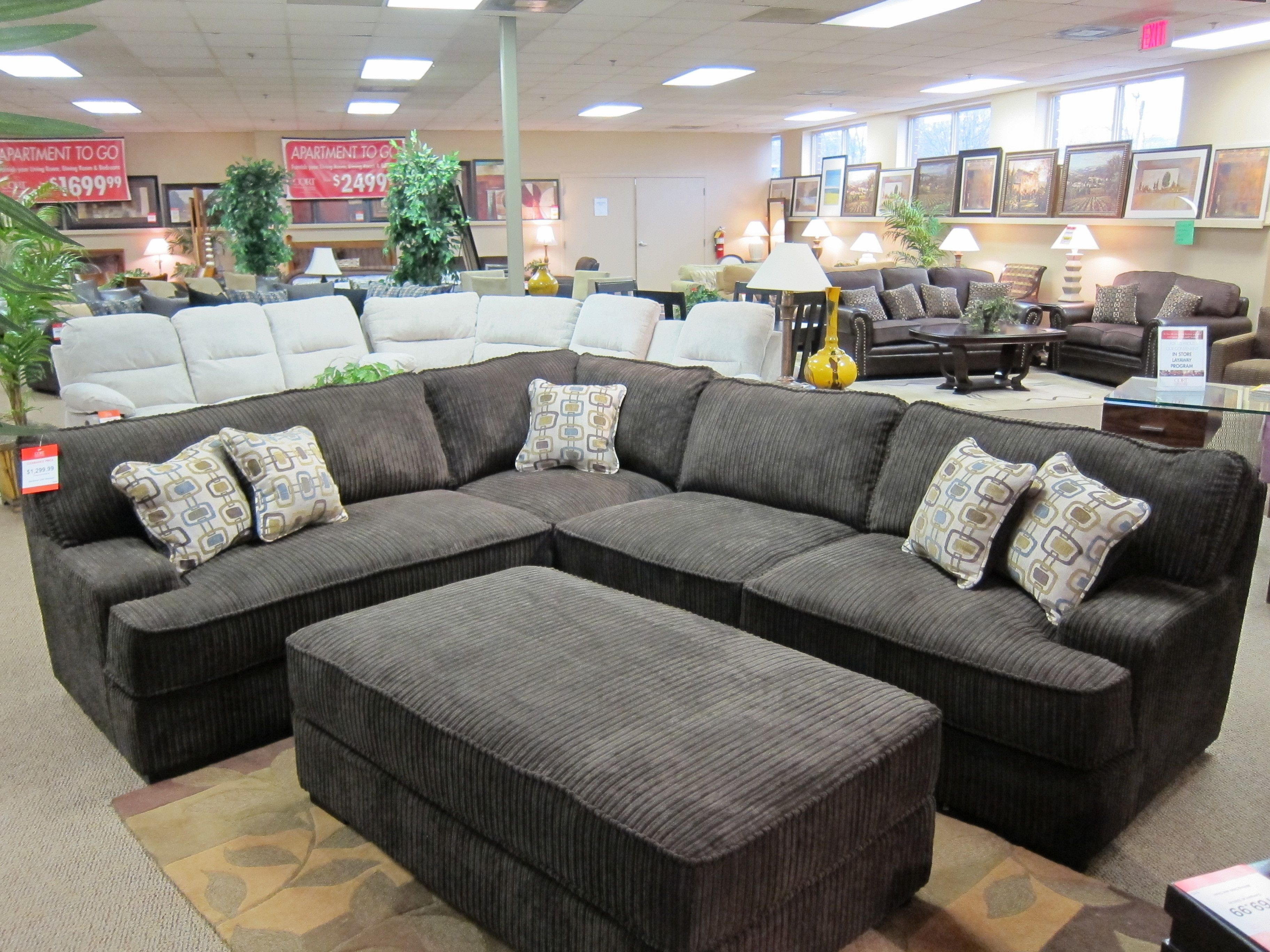 Brown Corduroy Sectional Sectional Sofas Living Room Sectional