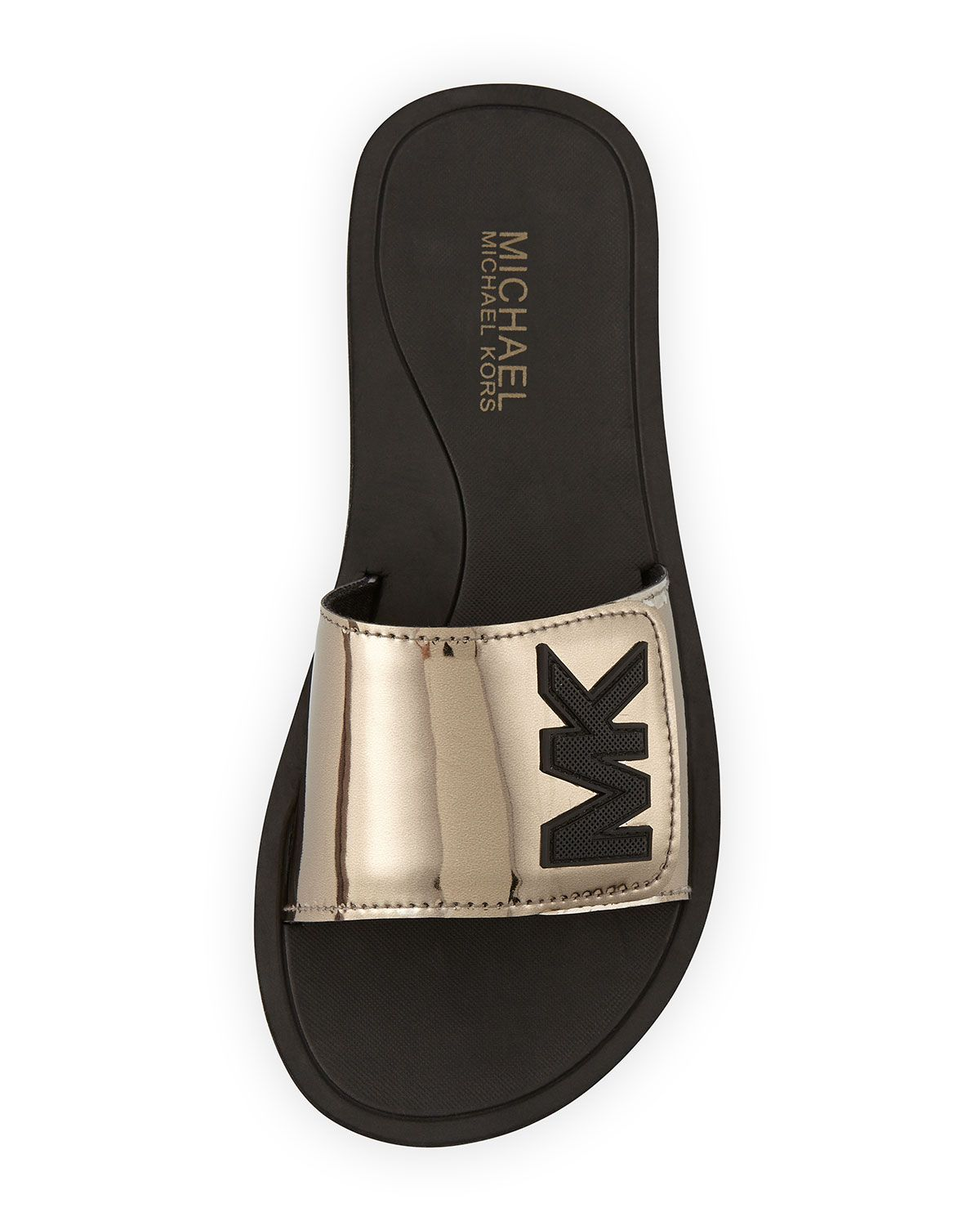 af99ca130396 These Michael Kors slides for women are perfect for slipping on after  working out. Not only do they look stylish