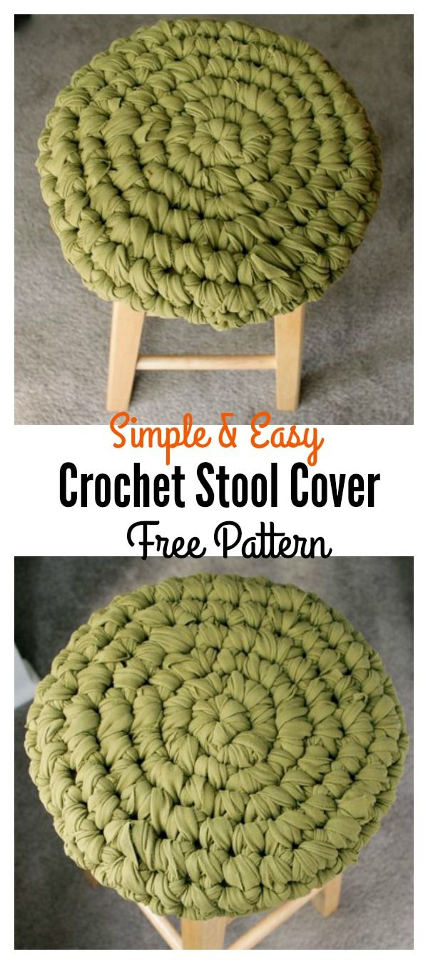 Crochet Stool Cover Free Patterns | Häkeldecken muster, Häkeln ...