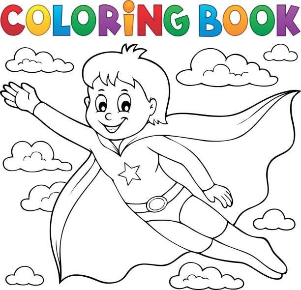 coloring book super hero boy theme 1  eps10 vector